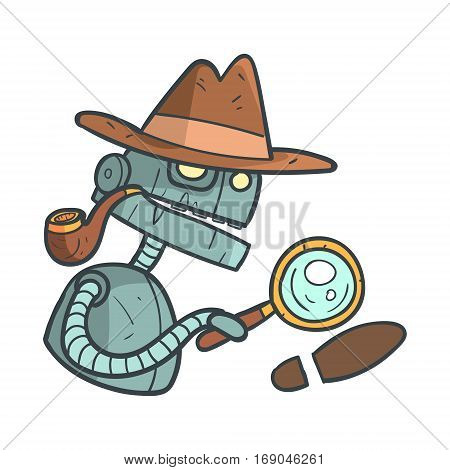 Private Detective Blue Robot With Magnifying Glass And Pipe Cartoon Outlined Illustration With Cute Android And His Emotions. Comic Vector Sticker With Humanoid Artificial Intelligence Character.