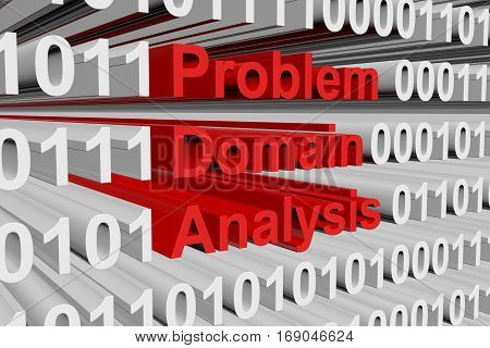 problem domain analysis in the form of binary code, 3D illustration