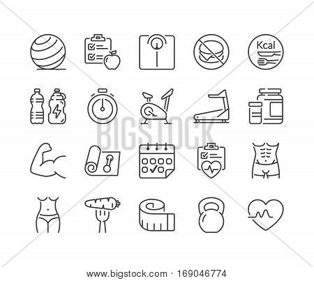 fitness and health thin line icon set black color isolated