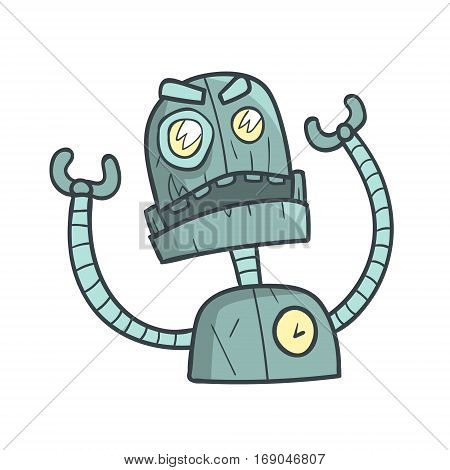 Angry And Annoyed Blue Robot Cartoon Outlined Illustration With Cute Android And His Emotions. Comic Vector Sticker With Humanoid Artificial Intelligence Character.