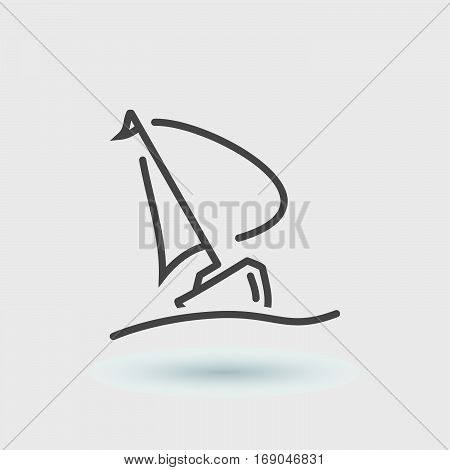 Traveling by sailboat thin line icon black color isolated
