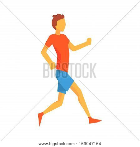 Man Slowly Running Warming Up, Male Sportsman Running The Track In Red Top And Blue Short In Racing Competition Illustration.