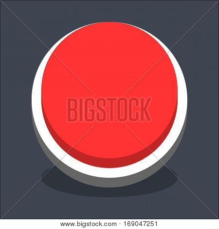 Use it in all your designs. Flat web internet circle button with oval shadow in 3D style. Inactive variant. Quick and easy recolorable shape. Vector illustration a graphic element