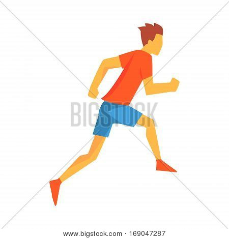 Man Racing With Hurdles, Male Sportsman Running The Track In Red Top And Blue Short In Racing Competition Illustration.