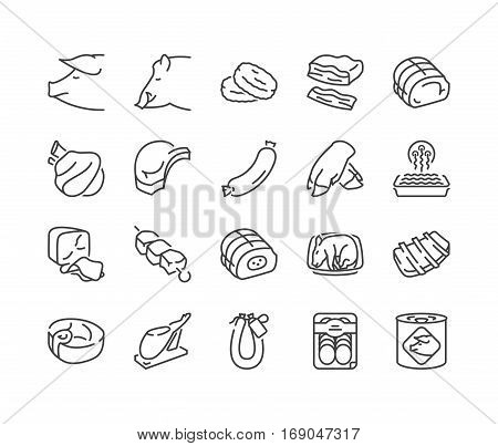 Types of pork and meat products thin line icons black color isolated