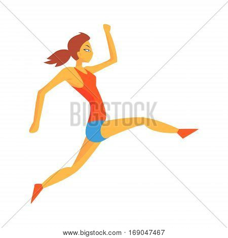 Woman Accelerating For Triple Jump, Female Sportsman Running The Track In Red Top And Blue Short In Racing Competition Illustration.