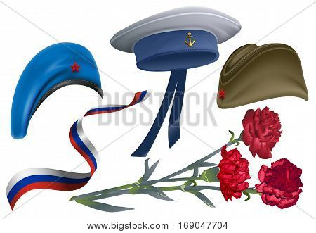 Defender of Fatherland Day. Set of accessories for greeting card field cap, peakless hat, beret, carnation flower bouquet, ribbon Russian flag. Isolated on white vector llustration