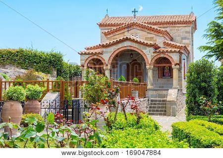 Chapel in Meteora monastery on Meteora rock cliff, Trikkala, Greece