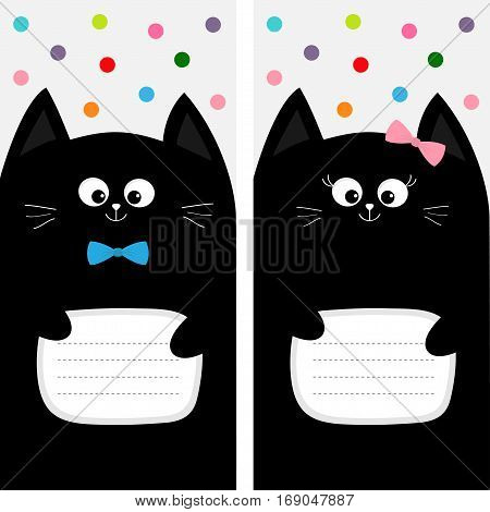 Poster Notebook cover Composition book template. Black cat kitty head with bow. Cute cartoon character set. Pet baby collection Card. Flat design. White background Colorful dot. Vector illustration.