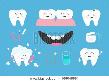 Tooth health icon set. Toothpaste toothbrush dental tools instruments thread floss mirror brush water. Children teeth care. Oral hygiene Baby background Flat design Vector illustration