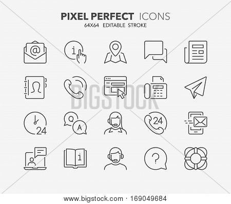 Set of contact and support thin line icons. Contains icons as phone call customer 24 hrs email faq and more. Editable stroke. 64x64 Pixel Perfect.