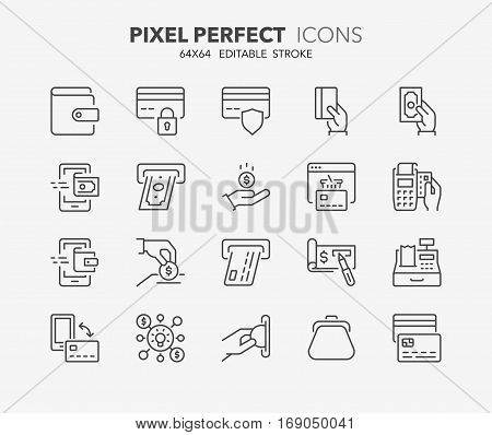 Set of money and payment methods thin line icons. Contains icons as pay online bank check mobile wallet mobile payment credit card and more. Editable stroke. 64x64 Pixel Perfect.
