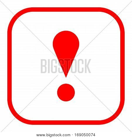 Use it in all your designs. Thin line style exclamation mark icon warning sign attention button in square shape. Vector illustration a graphic element for web internet design