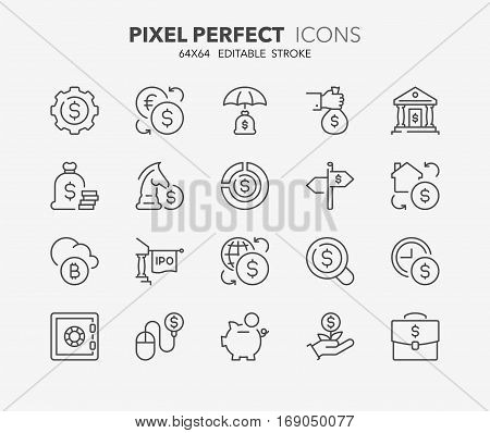 Set of money and financial thin line icons. Contains icons as e-banking stock exchange initial public offering investment portfolio real estate investment and more. Editable stroke. 64x64 Pixel Perfect.