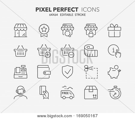 Set of e-commerce and shopping thin line icons. Contains icons as shopping online shopping basket fast delivery payment options info and more. Editable stroke. 64x64 Pixel Perfect.