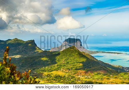 View from the viewpoint. Le Morne Brabant on background. Mauritius. Panorama