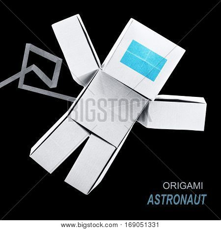 Astronaut tehnology robot origami paper on ablack space background