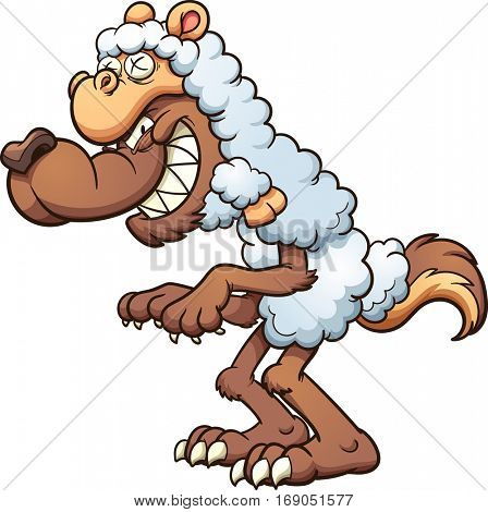 A cartoon wolf in sheep's clothing. Vector clip art illustration with simple gradients. All in a single layer.
