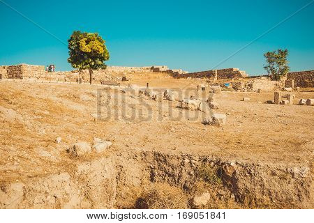 Photo of the Amman Citadel area, Jordan. Archaeological site. Tourism industry. Summer vacation. Travel concept. Tourist attraction. Sightseeing tour. Famous historical monument
