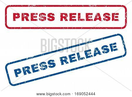 Press Release text rubber seal stamp watermarks. Vector style is blue and red ink tag inside rounded rectangular shape. Grunge design and dust texture. Blue and red stickers.