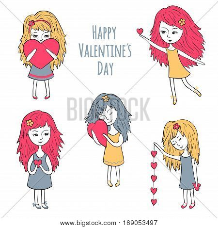 Cute girls with hearts. Cute characters for the day of the Holy Valentina. Romantic collection.