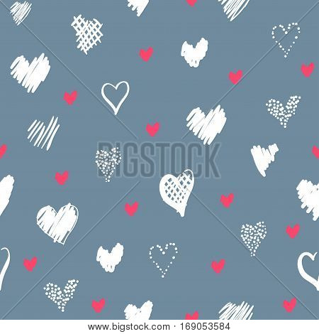 Romantic pattern with hearts. Elements hand-drawn style sketch. Perfect for holidays decoration Valentines day packaging print on fabrics and other. Red and white hearts on grey background