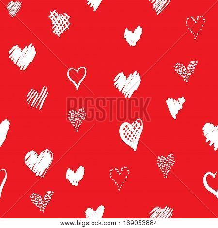 Romantic pattern with hearts. Elements hand-drawn style sketch. Perfect for holidays decoration Valentines day packaging print on fabrics and other. White hearts on red background