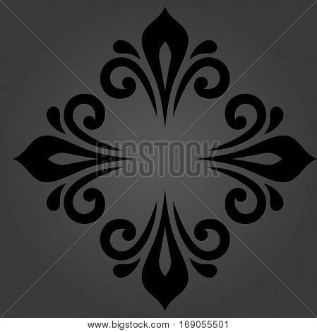 Oriental vector black pattern with arabesques and floral elements. Traditional classic ornament. Vintage pattern with arabesques