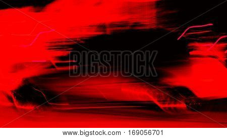 A similar picture car is running at speeds up image with colors of red, black, look fierce violence is abstract art.