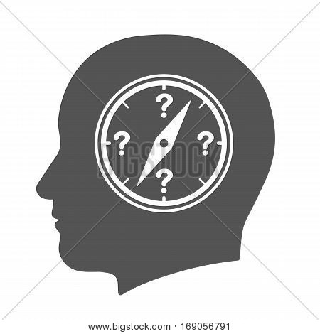 Compass in human head icon with question marks depicting search for direction - vector illustration