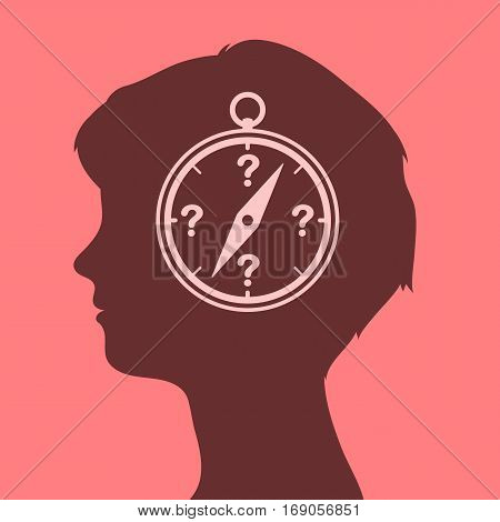 Woman head with compass icon and question marks for orientation vector illustration