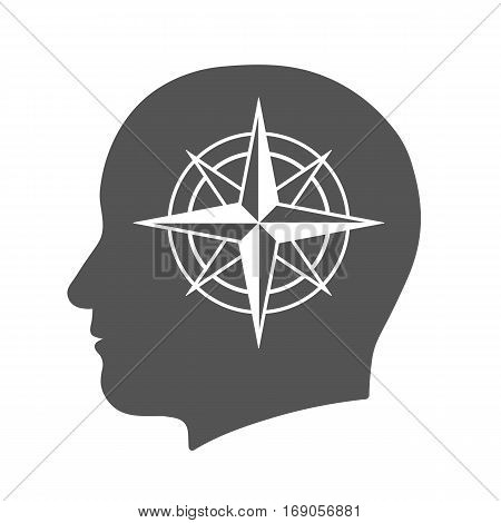 Head icon with compass rose sign in silhouette vector illustration