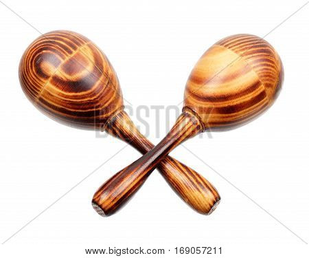 Two wooden maracas with a typical wood structure isolated on white background