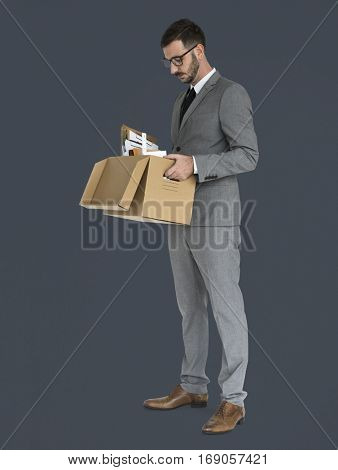 Caucasian Business Man Pack Up Retrenched