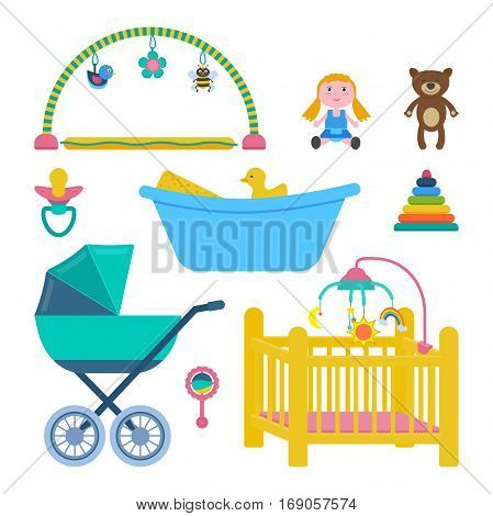 Vector set of baby room objects isolated on white: activity mat toys bear doll bath duck nesting blocks craddle pram rattle dummy.