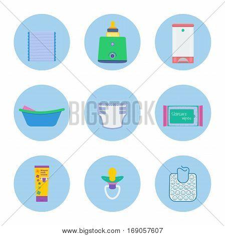 Baby hygiene vector set: pack of diapers milk sterilizer and bottle warmer diaper pail infant bath with sponge diaper skincare wipes baby rash cream dummy bib