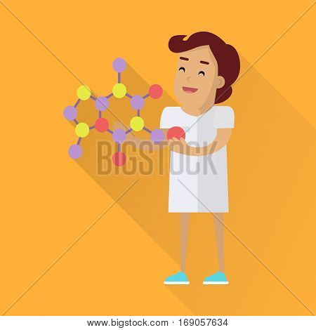 Scientists woman in white robe at work. Scientist physicist holding model of a mineral crystal structure. Scientists in lab. Science and technology development, scientific research, lab research.
