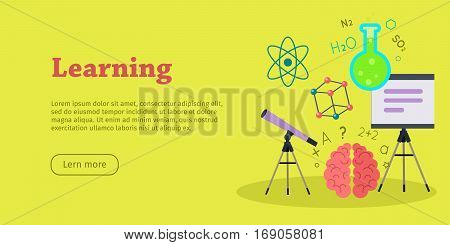 Learning banner. Scientific space medicine physics and chemistry equipment. Educational concept. Medicinal substances, preparations, devices, elements. Laboratory researches. Vector in flat style