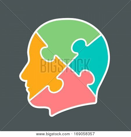 Icon of a head cut into four jigsaw puzzle pieces colored pink orange aqua and green vector illustration