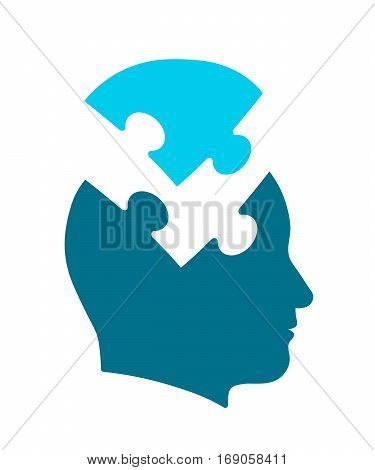 Conceptual icon of psychology and the mind illustrating a human head with jigsaw puzzle piece taken out vector illustration