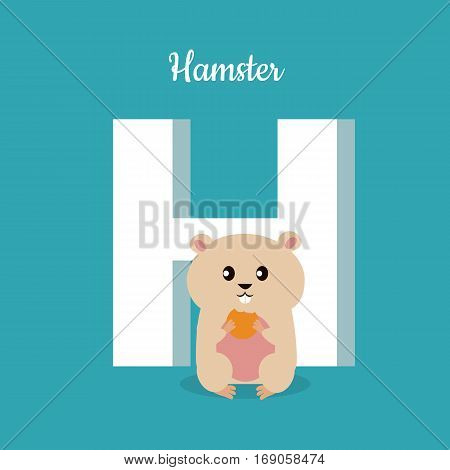 Hamster with letter H isolated on blue. Domestic hamster with biscuit. Part of alphabetic series with animals. Fluffy rodent animal. Small funny mouse. ABC, alphabet. Vector illustration