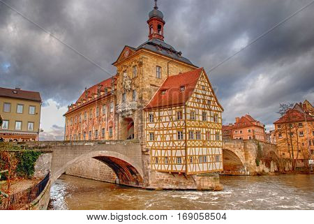 The Old Town Hall of Bamberg, Germany. The Old Town of Bamberg is listed as a UNESCO World Heritage.