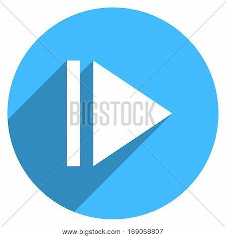 Use it in all your designs. Arrow sign eject icon in circular shape. Multimedia audio video movie interface button in flat long shadow style. Vector illustration a graphic element for design