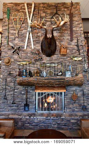 Arizona USA - july 7 2016 : fire place in an hotel near Grand Canyon