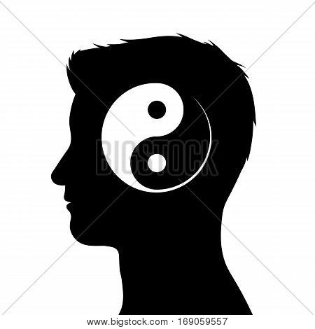 Silhouette of male head with yin yang symbol vector illustration