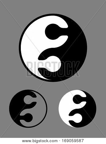 Creative black and white Yin Yang symbol of interlocked jigsaw puzzle pieces conceptual of harmony zen meditation opposites in Chinese philosophy vector illustration in three different variants