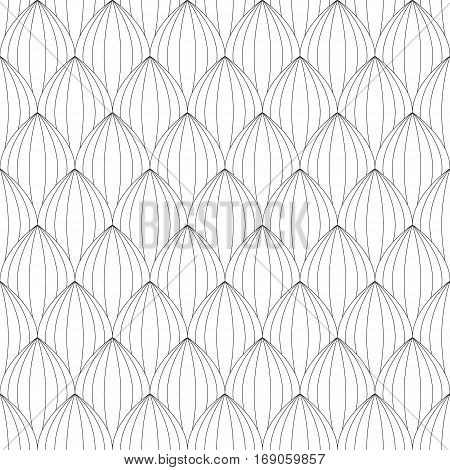 leaves. Linear scales seamless pattern. Coloring for adult anti-stress