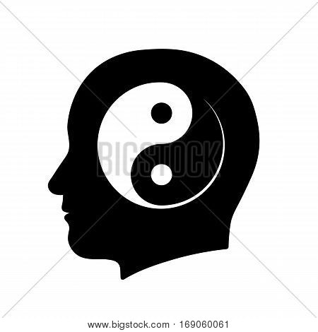 Silhouette icon of head with yin yang meditation symbol vector illutration