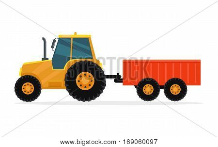 Tractor with trailer vector. Flat design. Industrial transport. Cargo machine. Illustration for farming, agricultural, construction theme illustrating, app icons, ad, infographics On white