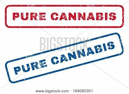 Pure Cannabis text rubber seal stamp watermarks. Vector style is blue and red ink tag inside rounded rectangular shape. Grunge design and scratched texture. Blue and red emblems.